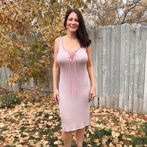Dresses & Skirts - Mauve Striped Tie Up Dress